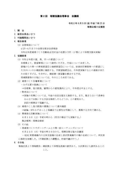 「第1回理事会から第6回理事会の会議録」、「今後の協議会日程」について報告します。